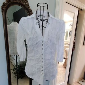 XOXO ruched white v neck blouse